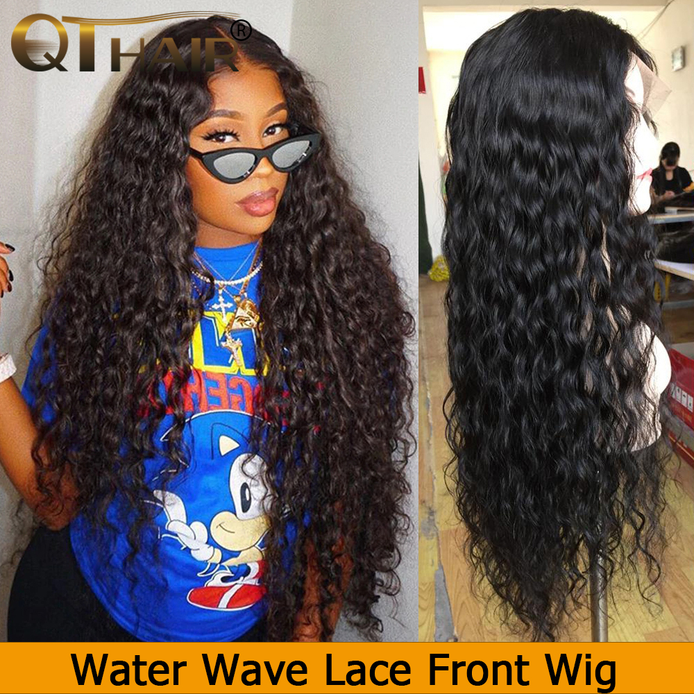 Water Wave Wig13*4 Lace Front Human Hair Wigs For Black Women Pre Plucked With Baby Hair 180% QT Remy Peruvian Lace Front Wig