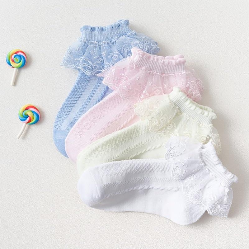 Baby Girl Socks Lace Decor For Dance Performance Spring/autumn/summer Lovely Solid Princess Kids Short Socks
