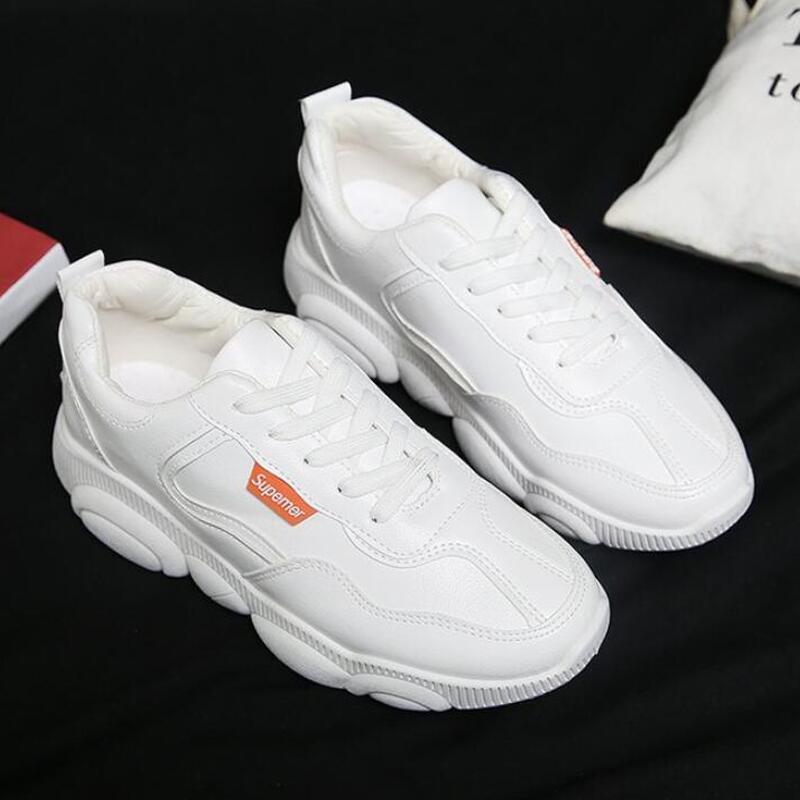Женские кроссовки; Повседневная обувь из вулканизированной кожи; сезон весна-осень; женские белые туфли из искусственной кожи на шнуровке;
