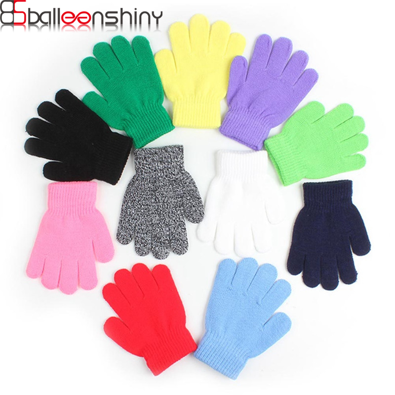 BalleenShiny Baby Candy Color Knitted Gloves Toddler Solid Full Finger Mittens For Boys&Girls Autumn Winter Glove Accessories