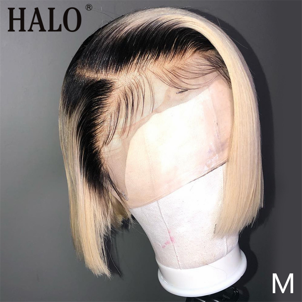 HALO 1B / 613 Short Bob Wigs Blonde Ombre 13x4 Lace Front Wigs Straight Hair Brazilian Human Hair Wigs 150% Density Remy Hair image