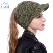 Hats Snapback-Caps Baseball-Hats Ponytail Knitting Winter Fashion Solid WELROG Beanies