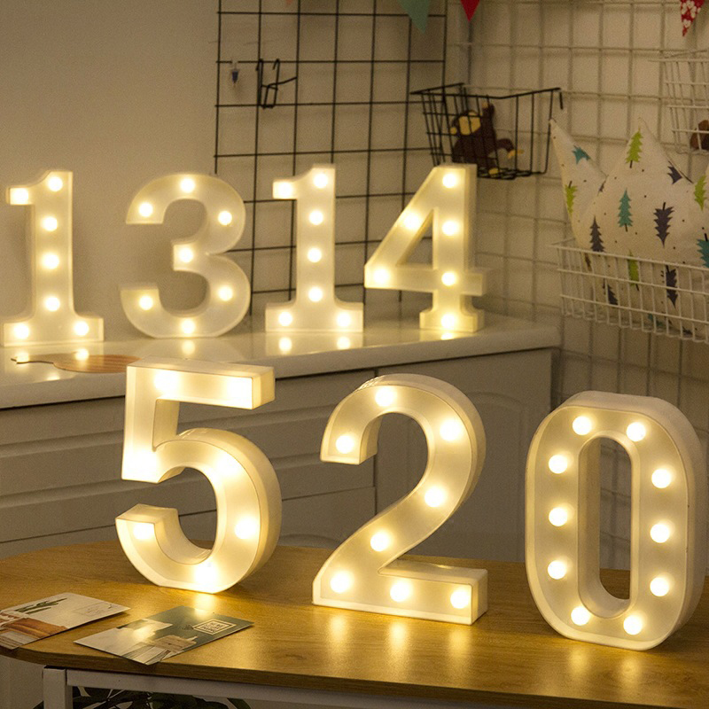 Led Alphabet Lights Number Lights LED Night Light Holiday Romantic Lights LOVE 520 For Wedding Party Valentine's Day Birth Gift