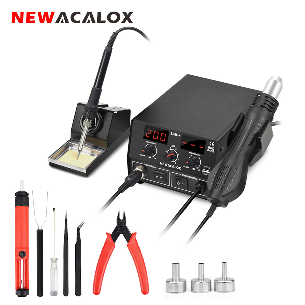 NEWACALOX 886D EU/US 750W Digital 2 In 1 Soldering Station Temperature Adjustment Soldering Iron Hot Air Rework Station Heat Gun