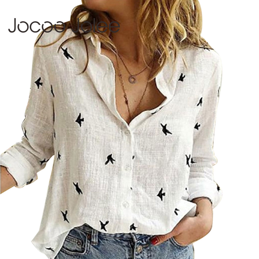 Jocoo Jolee Women Casual Birds Print Blouse Spring Summer Long Sleeve Cotton And Linen Loose Shirt Vintage Tops Tunic Plus Size