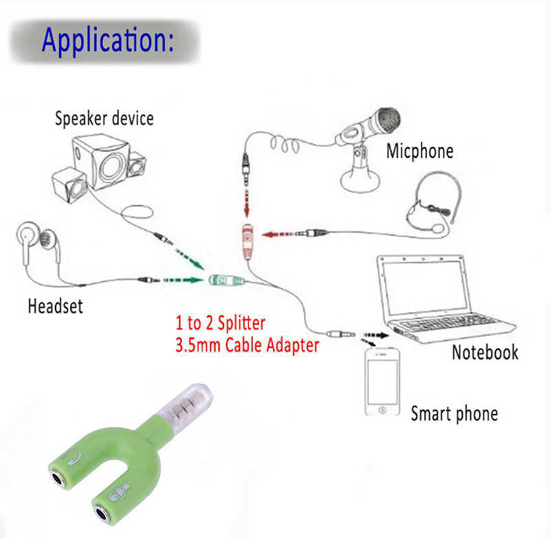 Schwarz 3,5mm Splitter Stereo Stecker U-form Stereo Audio Mic Kopfhörer Kopfhörer Splitter Adapter Für Smartphone MP3 MP4 player