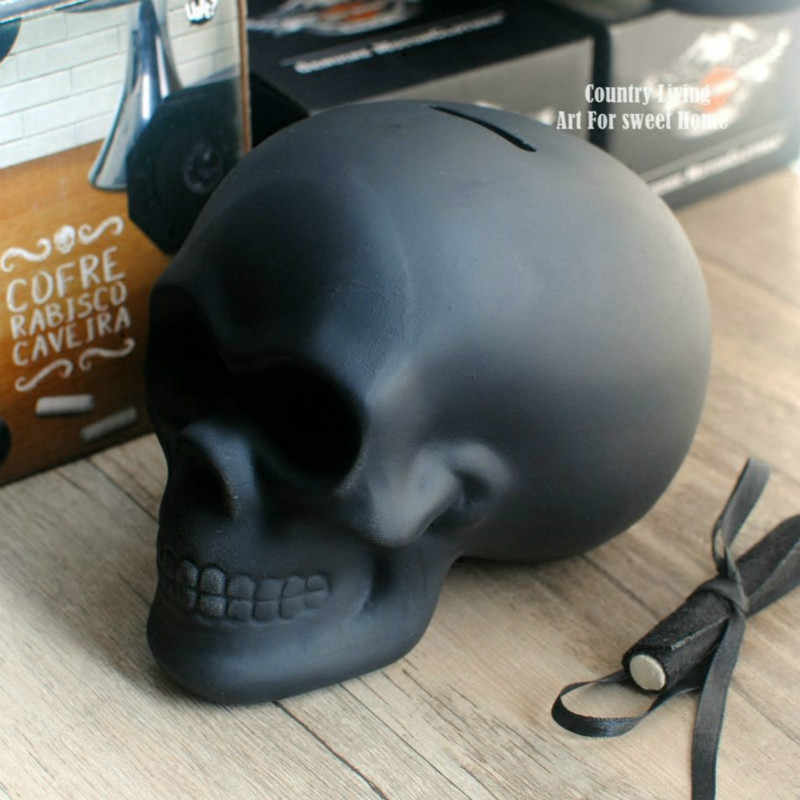 Blackboard Glazed Ceramic Skull DIY Doodle Piggy Bank Skull Money Box Craft Skull Statues & Sculptures