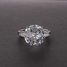 الاسترليني الفضة كبيرة 12 مللي متر الزركون الجولة خاتم المرأة مخصص Mozanne 12 قيراط تألق AAAAA تشيكوسلوفاكيا خواتم الزفاف حجم 5 12