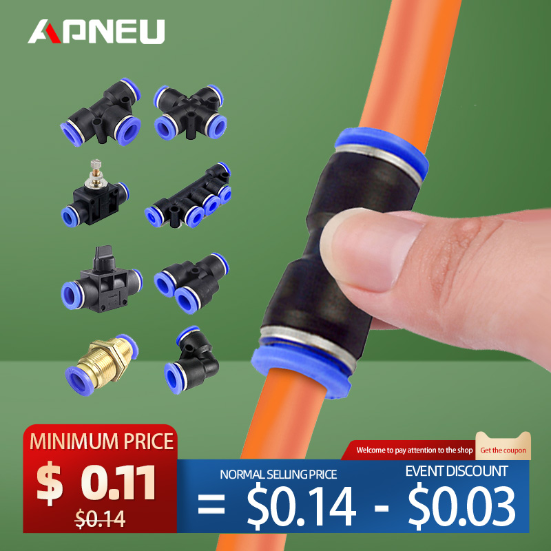 Pneumatic Fitting Hose Connector Tube Plastic Joint Compressor Push-in Quick Release Pipe for 4mm 6mm 8mm 10mm 12mm Pu Py