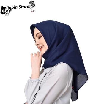 Hot sale Islamic hijab square muslim headscarf Malaysia Tudung Bawal bandana women muffler hijab shawls lady solid scarf 2020 chiffon muslim headscarf polka dot print square scarf hijab for women islamic turban headwrap malaysia bawal hijab shawl