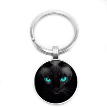 2019 New Hot Blue Eyes Black Cat Pattern Keychain Ladies Mens Necklace Sale Gift, Classic Kitten