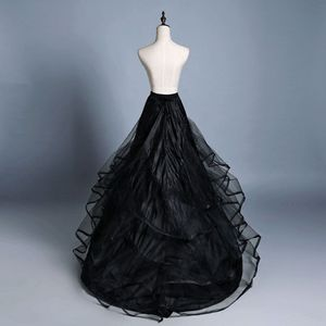 Image 1 - 3 שכבה חוט 2 חישוקי הכלה חתונה שמלת ארוך נגרר חצאית תחתונית אלסטי מותניים שרוך מתכוונן סליפ Fishtail חצאיות