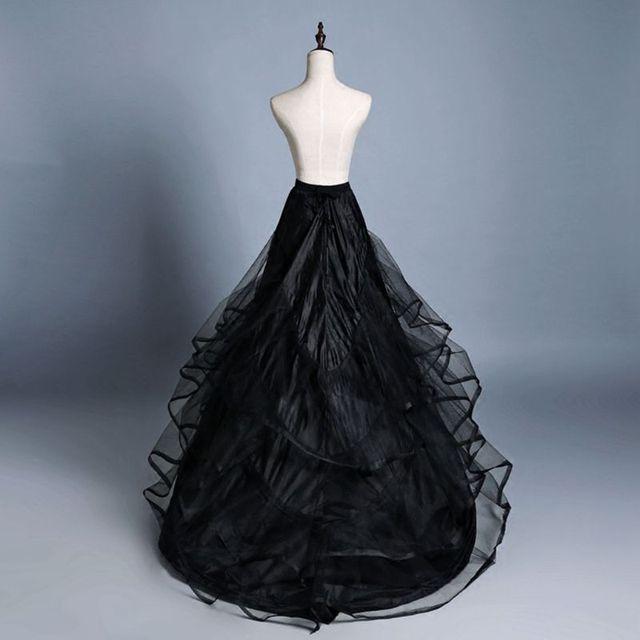 3 שכבה חוט 2 חישוקי הכלה חתונה שמלת ארוך נגרר חצאית תחתונית אלסטי מותניים שרוך מתכוונן סליפ Fishtail חצאיות