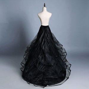 Image 1 - 3 layer Yarn 2 hoops Bride Wedding Dress Long Trailing Skirt Petticoat Elastic Waist Drawstring Adjustable Fishtail Slip Skirts