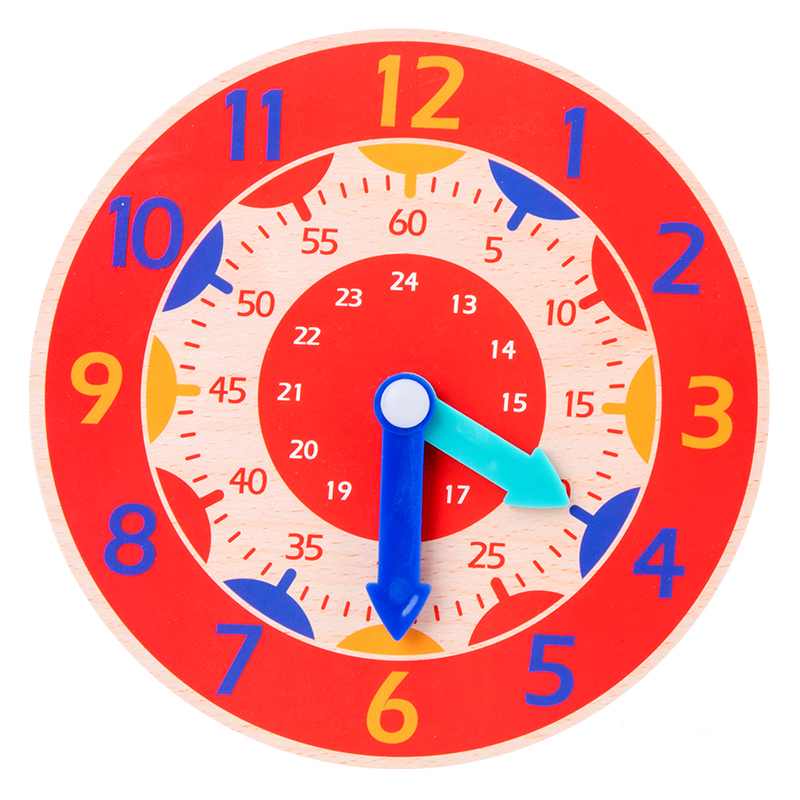 Children Montessori Wooden Clock Toys Hour Minute Second Cognition Colorful Clocks Toys for Kids Early Preschool Teaching Aids(China)