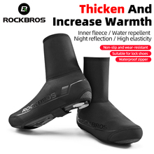 ROCKBROS Winter Waterproof Cycling Shoe Cover Reflective Thermal Elastic Rainproof Bike Shoe Cover Cycling Overshoes Boot Covers