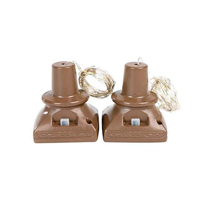 Top-2 Pack Solar Powered Wine Bottle Lights 20 LED Waterproof Copper Cork Shaped Lights For DIY Wedding Christmas Party Holiday