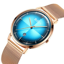 Mens Watches Top Brand Luxury Gold Watch Men Slim Mesh Waterproof Wristwatches Date Quartz Blue Clock Male relogio masculino New