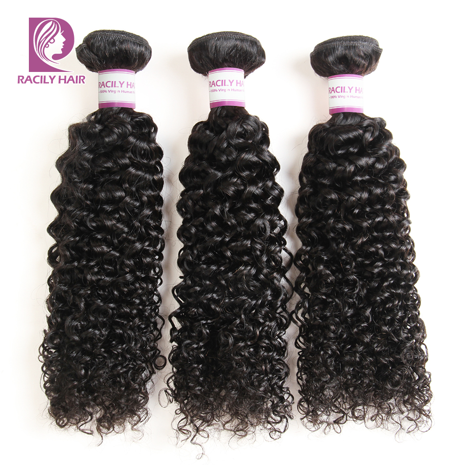Racily Hair Peruvian Kinky Curly Bundles Natural Black Color Remy Extensions 1B Human Hair Weave Bundles 1/3/4pcs/Lot 10-28 Inch