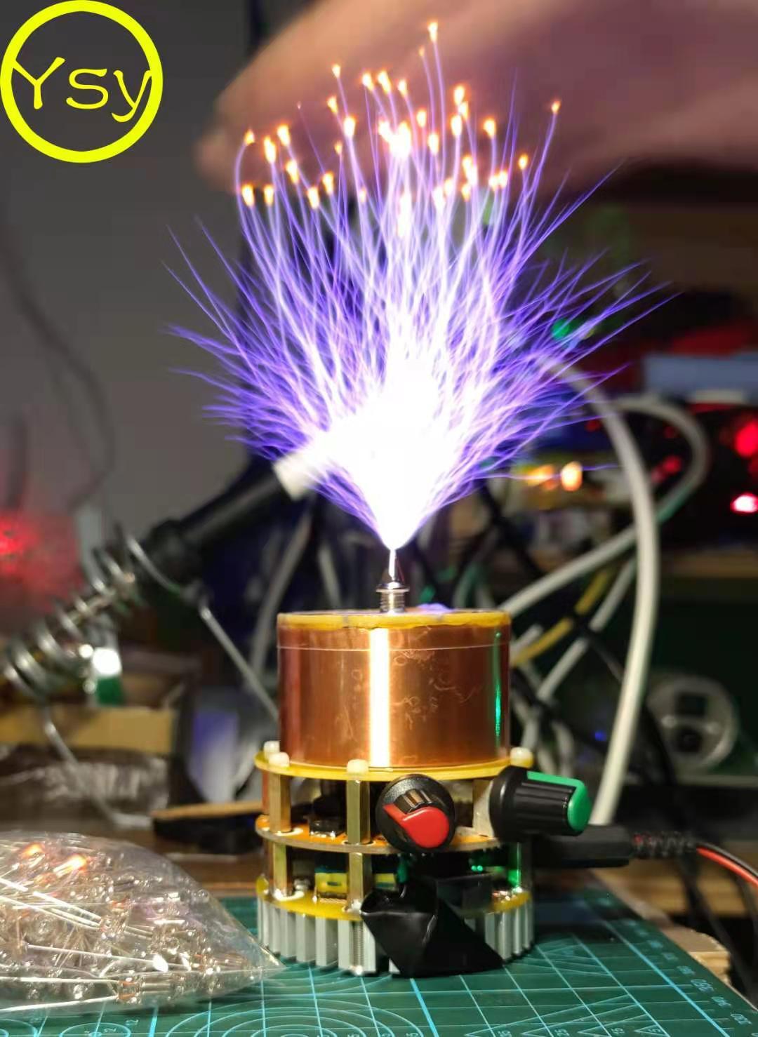 Mini musical Artificial, bobina Tesla sólida, herramientas de enseñanza Tesla, transmisión de Iluminación inalámbrica por Bluetooth
