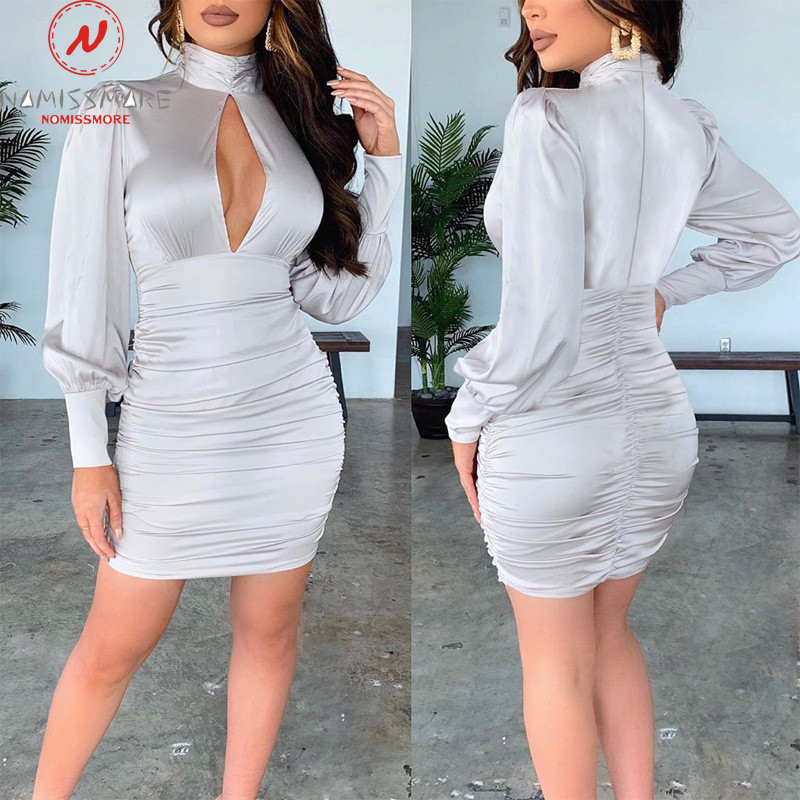 Sexy Women Streetwear Party Dress Patchwork Design Hollow Out High Collar Long Sleeve Solid Spring Autumn Slim Hips Pencil Dress