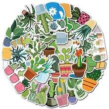 10/30/50 pçs bonito dos desenhos animados verde planta cactus potted computador notebook graffiti etiqueta decoração à prova dwholesale água por atacado
