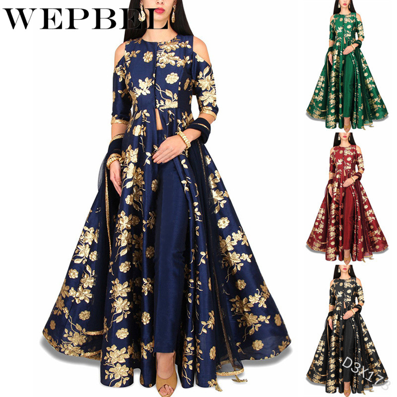 WEPBEL Women s Muslim Print Maxi Dress Noble Abaya 2 pieces set Chiffon Long Robe Gowns