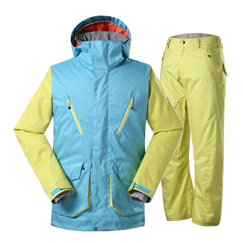Good Men's Snow Suit Wear Winter Outdoor Sports Snowboarding Clothing 10K Waterproof Windproof Breathable Ski Jacket + Snow Pant