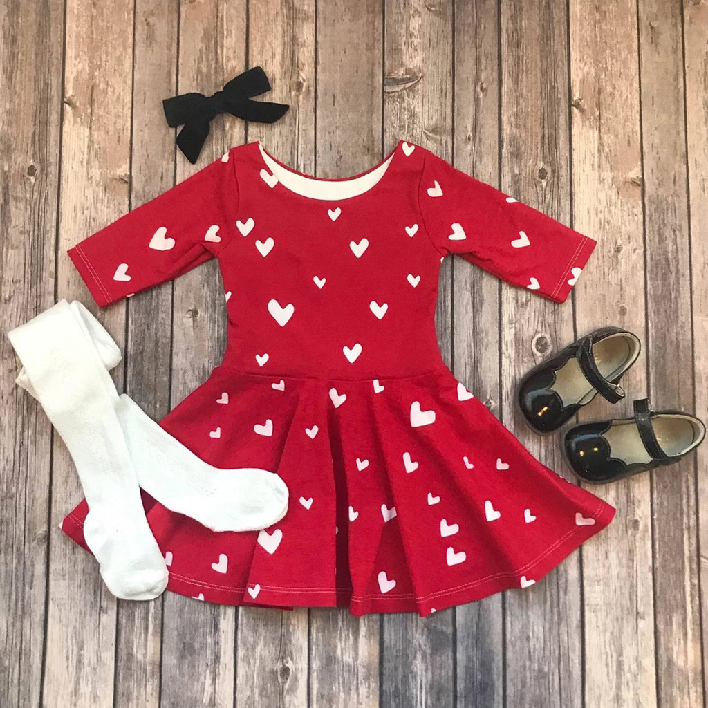 US $6.6 6% OFFToddler Girls Princess Heart Print Dress Children Kids  Princess Dresses For Girls Valentine Outfits Clothes Vestidos