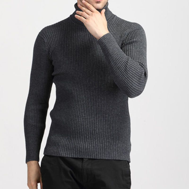 2019 Male Knitted Homme Thick Warm Cashmere Sweater Men Turtleneck Winter Mens Sweaters Slim Fit Pullover Men Wool Knitwear
