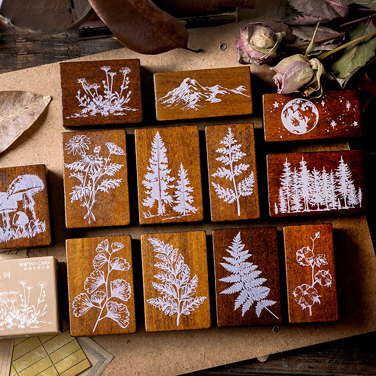 Mohamm Forest Collection Series Wooden Seal Stamp Lovely Kawaii Handmade DIY Printing And Painting Seal