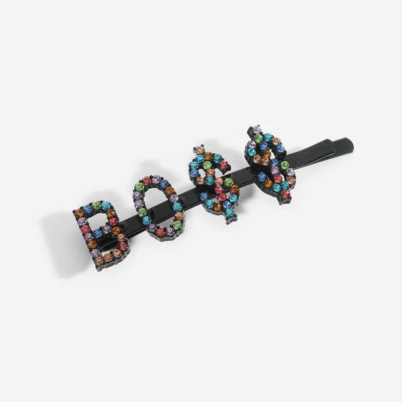 Regenboog Strass Brief Haarspelden Haarspeldjes Haar Accessoires Gepersonaliseerde Mix-Gekleurde Kristallen Woord Haar Clips Pride Dag Gift