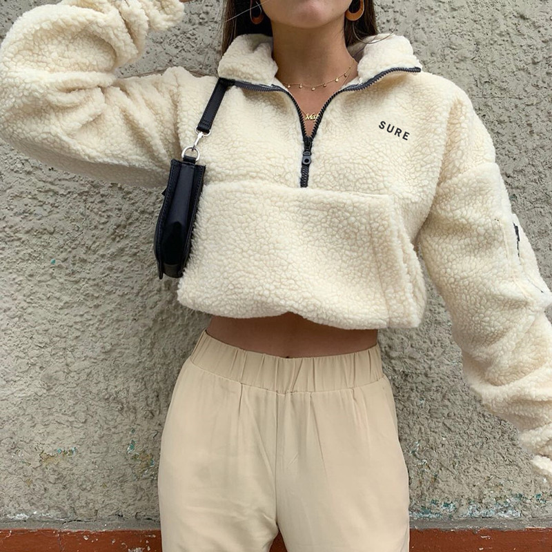 Cryptographic Casual Faux Fur Women Sweatshirt Fake Lambswool Zipper Front Turn Down Collar Cropped Tops Winter 2019 Streetwear
