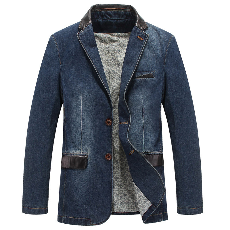 Spring Autumn Fashion Male Slim Fit Casual Denim Suit Jacket Men Blazer Coat Terno Masculino 4XL  Brand Mens Denim Blazer
