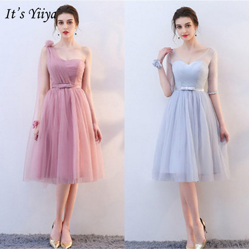 It's YiiYa 2019   Bridesmaids     Dresses   For Girls Sleeveless 2 Colors Knee-Length   Dress   Fashion Designer Elegant Formal   Dress   LX700