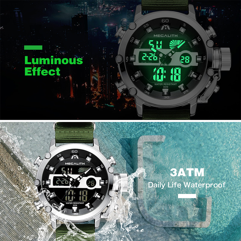 Relogio Masculino MEGALITH Sport Waterproof Watches Men Luminous Dual Display Alarm Top Brand Luxury Quartz Watch Wholesale 8051 4