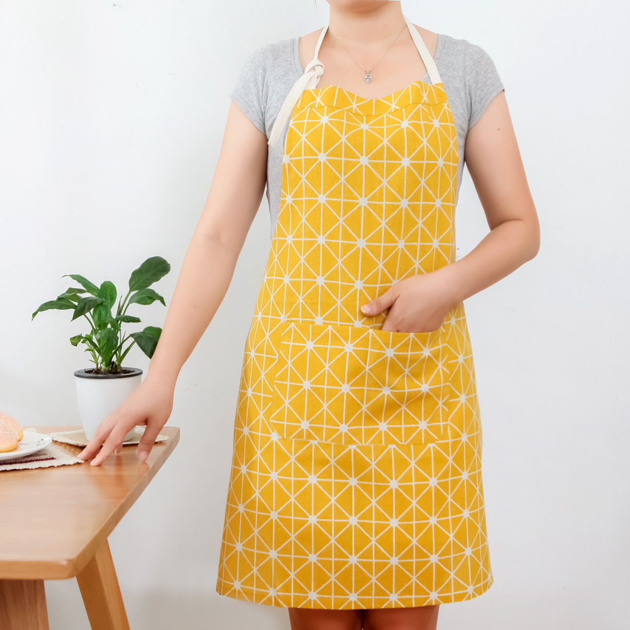 Northern European-Style Cotton Linen Apron Kitchen Home Cleaning Protective Clothing Men And Women Cooking Pure Cotton Apron Bak