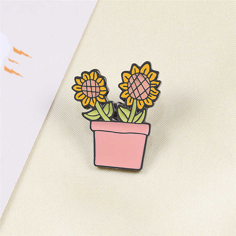 Zonnebloem Potplanten Metal Enamel Broches Fashion Cartoon Cactus Badges Pin Leuke Rugzak Jas Revers Pins Sieraden Accessoires