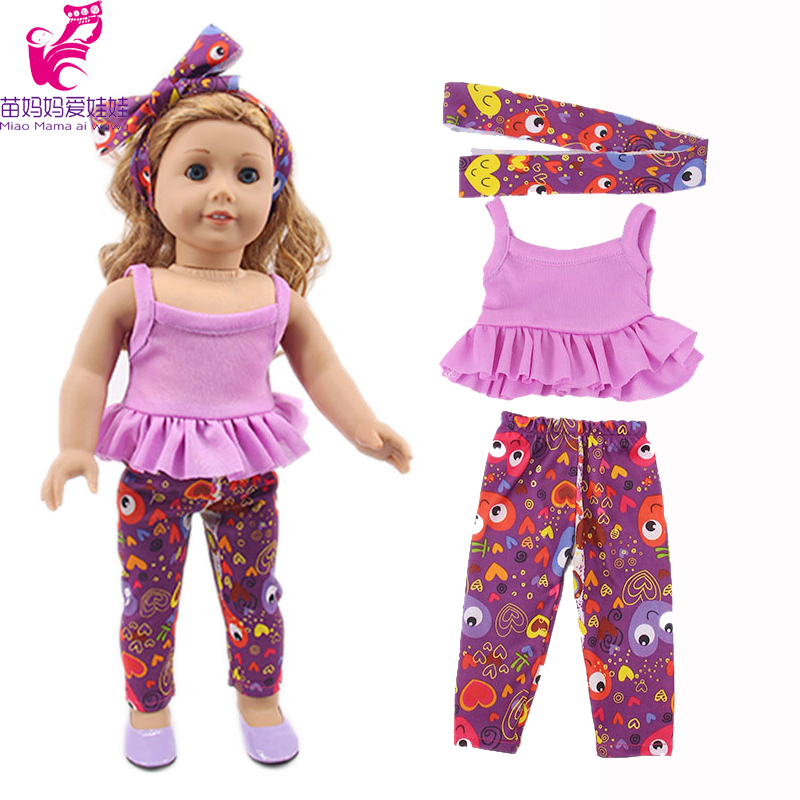 18 Inch American Doll Clothes 3 Piece Set Scarf Vest Pants For 40cm Baby Doll Clothes Our Generation Birthday Gift