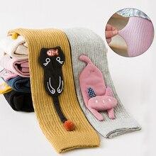 Детские леггинсы, детские осенние штаны с рисунком кота для девочек, леггинсы с эластичной резинкой на талии для девочек, теплые штаны, детские штаны