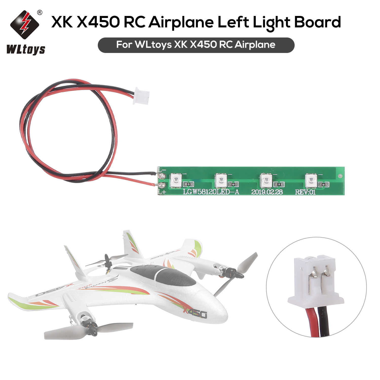 Wltoys Xk X450 Rc Vliegtuig Helicopter Vaste Vleugel Links/Rechts Licht Boord