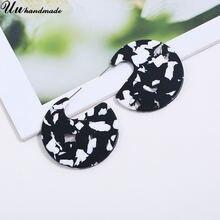 Винтажные черные круглые серьги для женщин акриловые модные