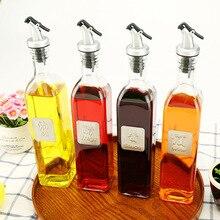 Европейская бутылка для масла для соевого соуса прямоугольная герметичная стеклянная масленка для соуса, уксуса и винного масла с надписью масленка