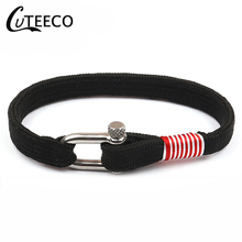 CUTEECO 2019 U-shaped Buckle Bracelets Stainless Steel Screw Anchor Black Leather Bracelet Men Wristband Fashion Jewelry