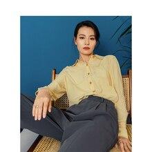 Инман 2020 весна сплошной цвет отложной воротник Поддельные карманы дизайн однобортный свободный стиль Женская рубашка с длинным рукавом