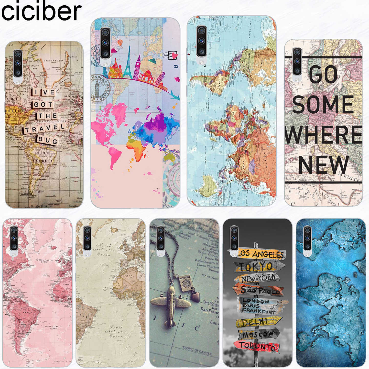ciciber Phone Case for Samsung Galaxy A50 A70 A80 A40 A30 A20 A60 A10 A20e Soft Silicone TPU World Map Travel Cover Fundas Coque