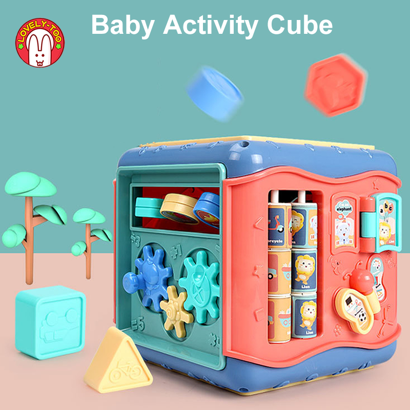 Baby Toys Activity Play Cube Six-Sided Box Montessori Shape Match Infant Development Educational Toy For Kids 13 24 Months