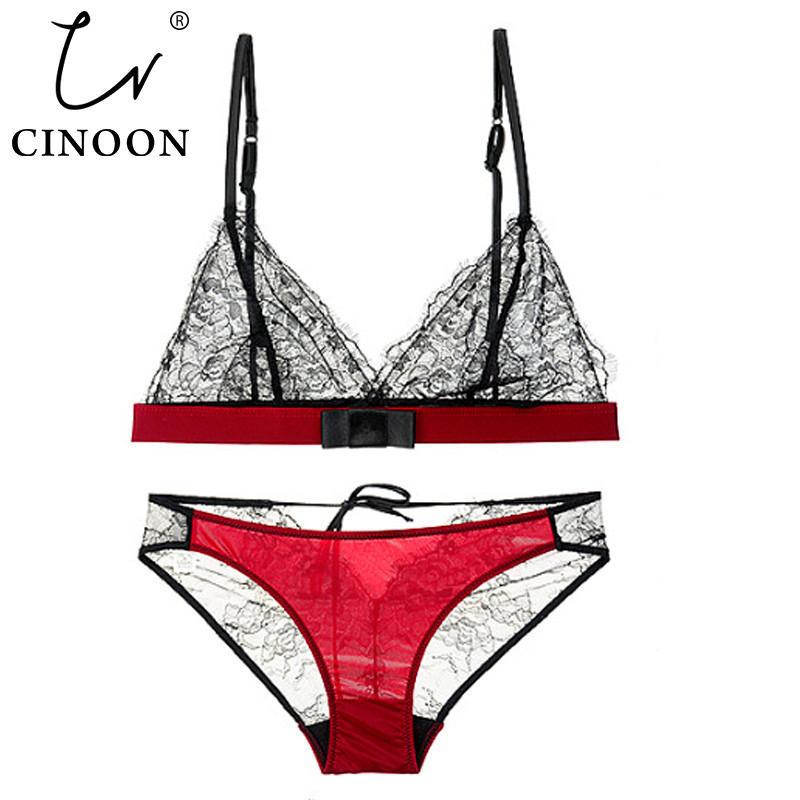 CINOON Lace Bra Set Wireless Brassiere Suit See Through Bralette Bikini Fashion Crop Top 3/4 Cup Bra Sexy Bust lingerie set