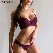 2019 아름 다운 다시 브래지어 세트 얇은 코 튼 브래지어 자 수 블랙 섹시 한 속옷 세트 여성 브래지어 와이어 무료 레이스 란제리 세트