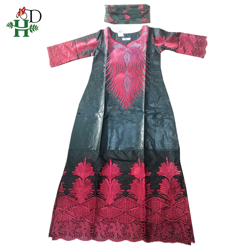 H&D embroidery flowers dresses african clothes for women traditional bazin riche maxi dress women nigerian gele headtie